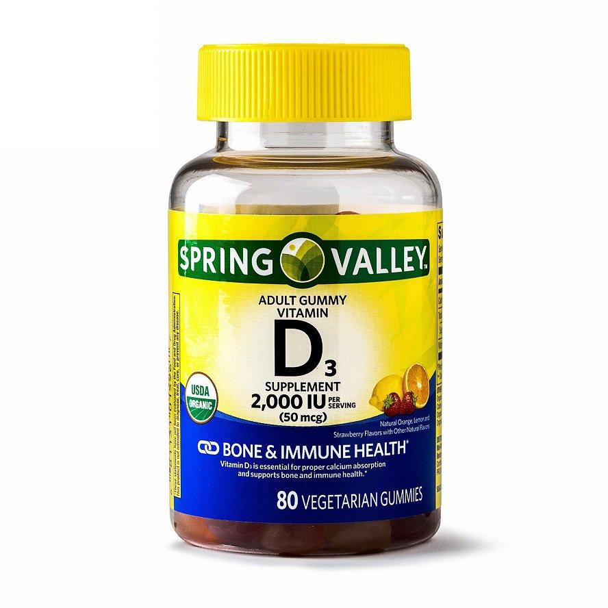 Spring Valley Vitamin D3 Gummies Bones & Immune Health 2000 IU 80 Gummies