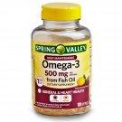 Spring Valley Omega-3 Fish Oil Softgels General & Hear Health 500 mg 120 Softgels