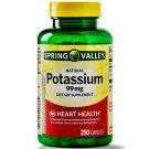 Spring Valley Potassium Dietary Supplemen Heart Health 99mg 250 Caplets