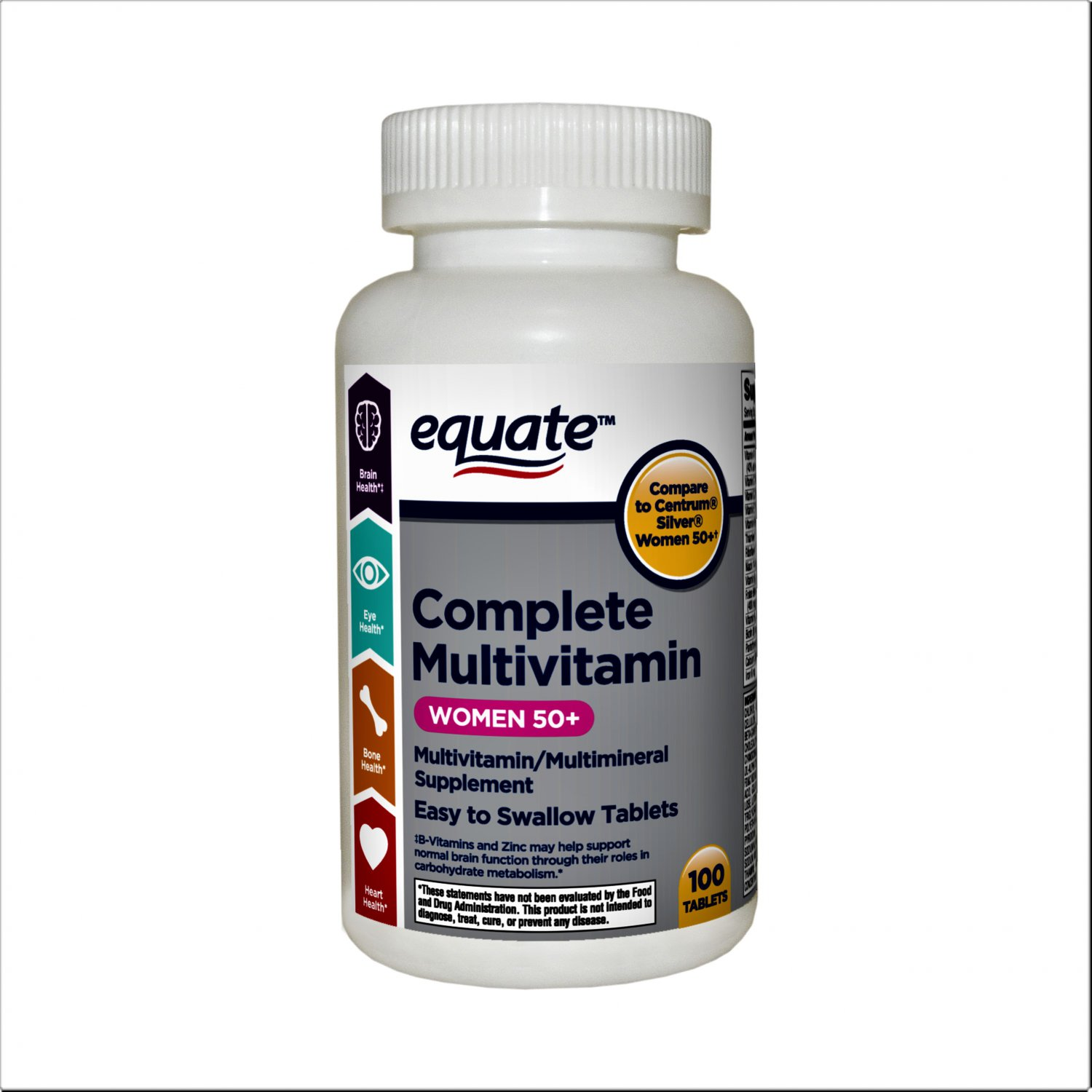 Equate Complete Multivitamin/Multimineral Women 50+ Dietary Supplement 100 Tablets