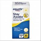 Equate Stay Awake Caffeine Alertness Aid Tablets 200 mg 80 Tablets