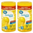 2 Great Value Lemon Scent Disinfecting Wipes (75 Wipes Pack) 150 Wipes in 2 Pack