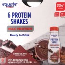 Equate Protein Shakes Max Protein Chocolate 30g Protein 1g Sugar 6 Bottles