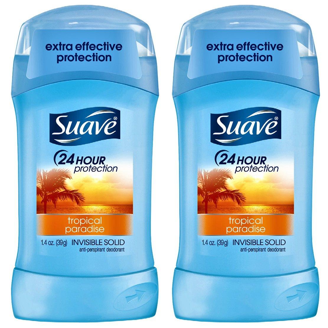 Suave Solid Invisible Tropical Paradise Antiperspirant Deodorant (1.4 oz Stick) 2 Sticks