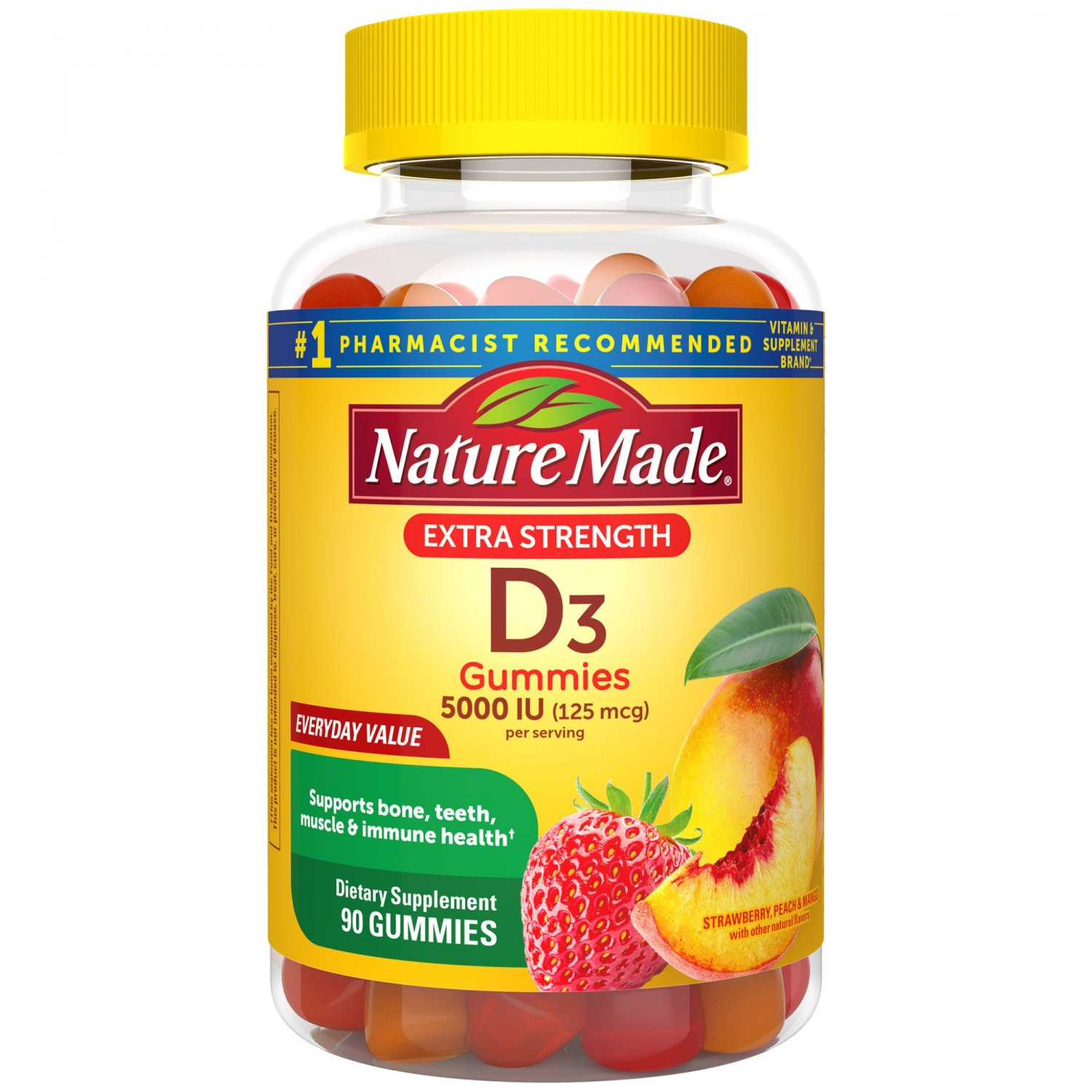 Nature Made Extra Strength Vitamin D3, 5000 IU (125 mcg) 90 Gummies