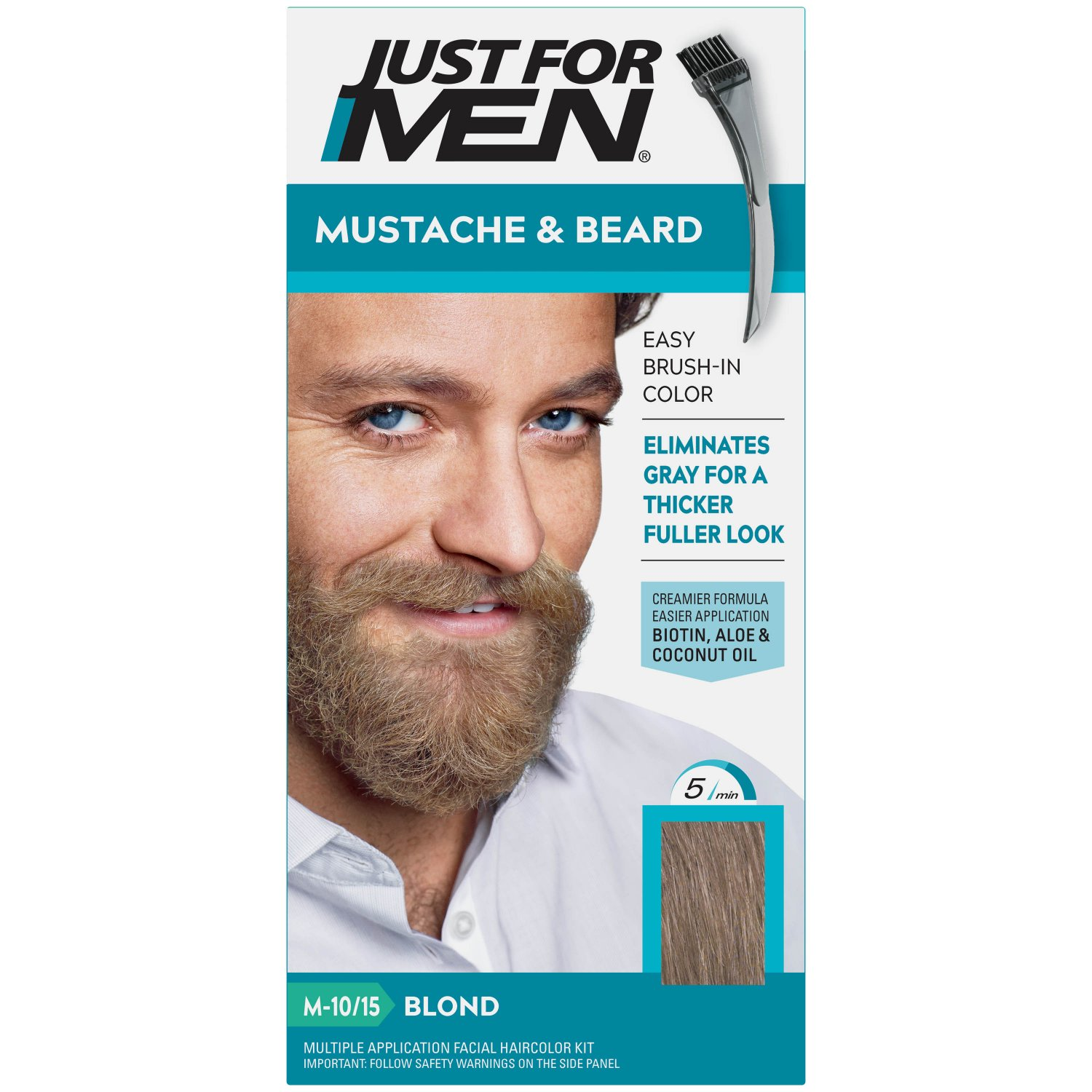 Just For Men Mustache & Beard Coloring for Gray Hair Brush Included Blond M-10/15