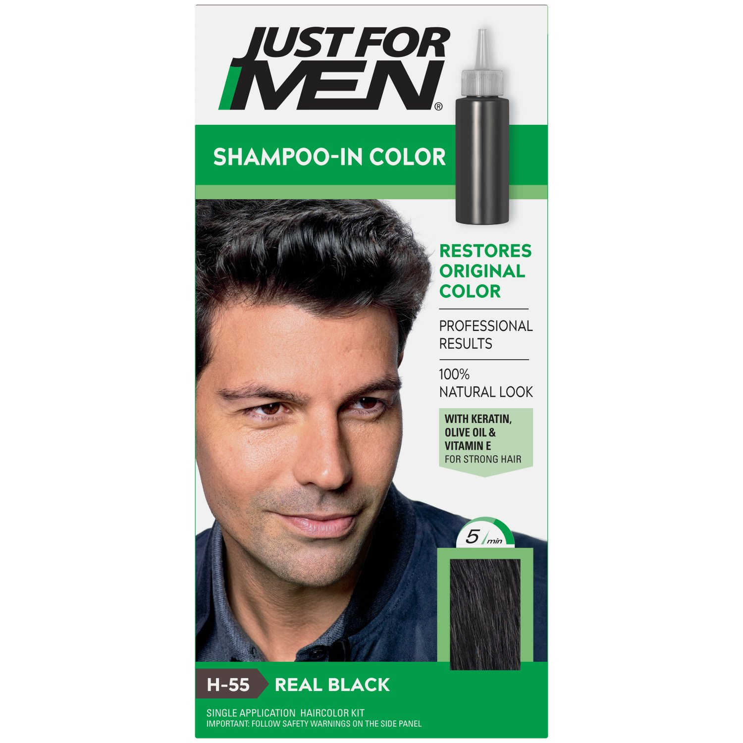 Just For Men Shampoo-In Color Gray Hair Coloring for Men Real Black H-55