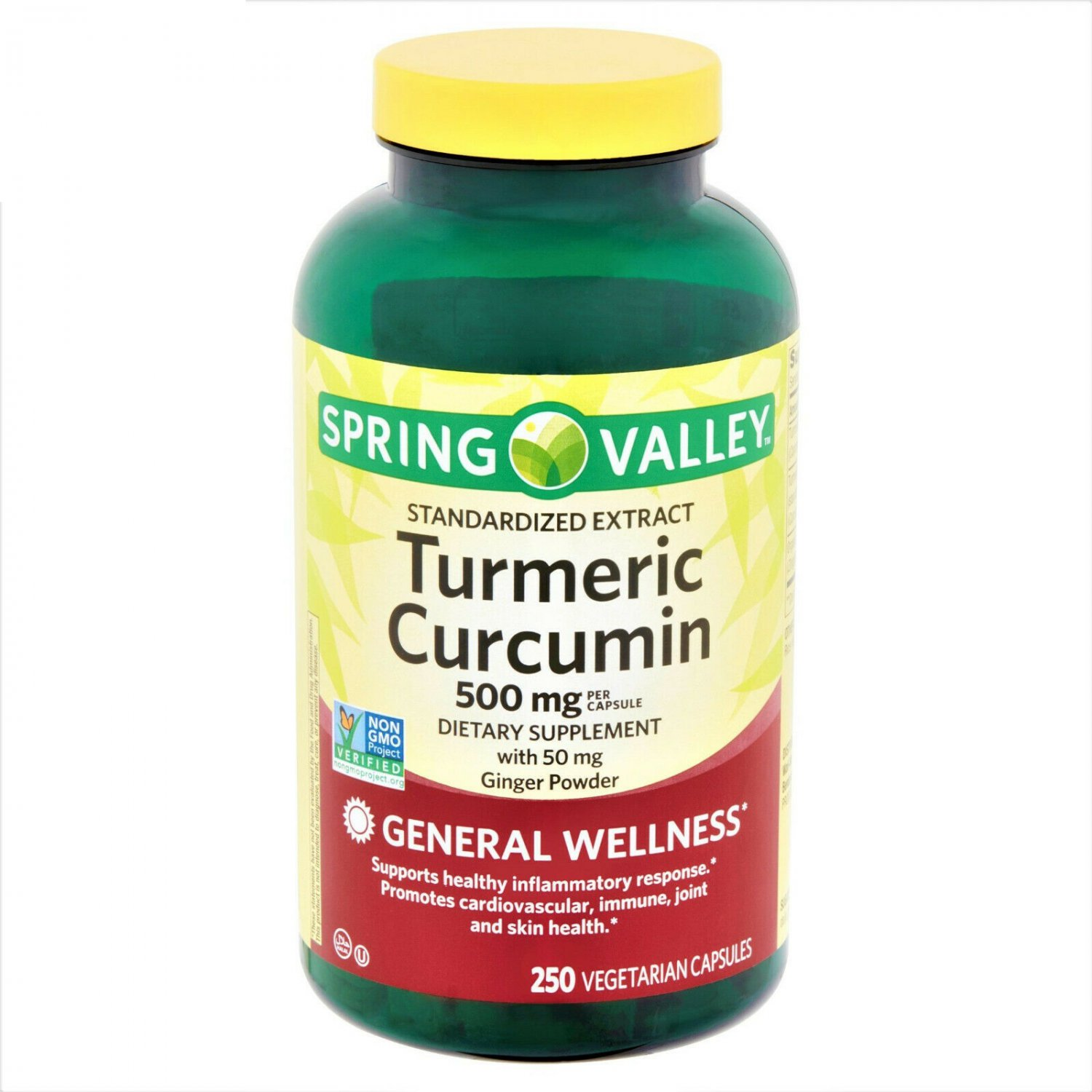 Spring Valley Standardized Extract Turmeric Curcumin Vegetarian Capsules 500 mg 250 Count
