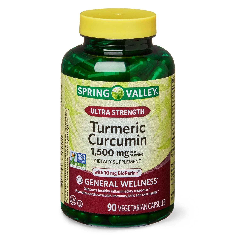 Spring Valley Ultra-Strength Turmeric Curcumin 1,500 mg 90 Vegetarian Capsules