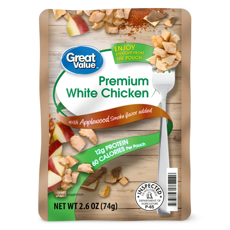 Premium White Chicken with Applewood Smoke Flavor 12g Protein 2.6 oz Pouch (3 Pouch)