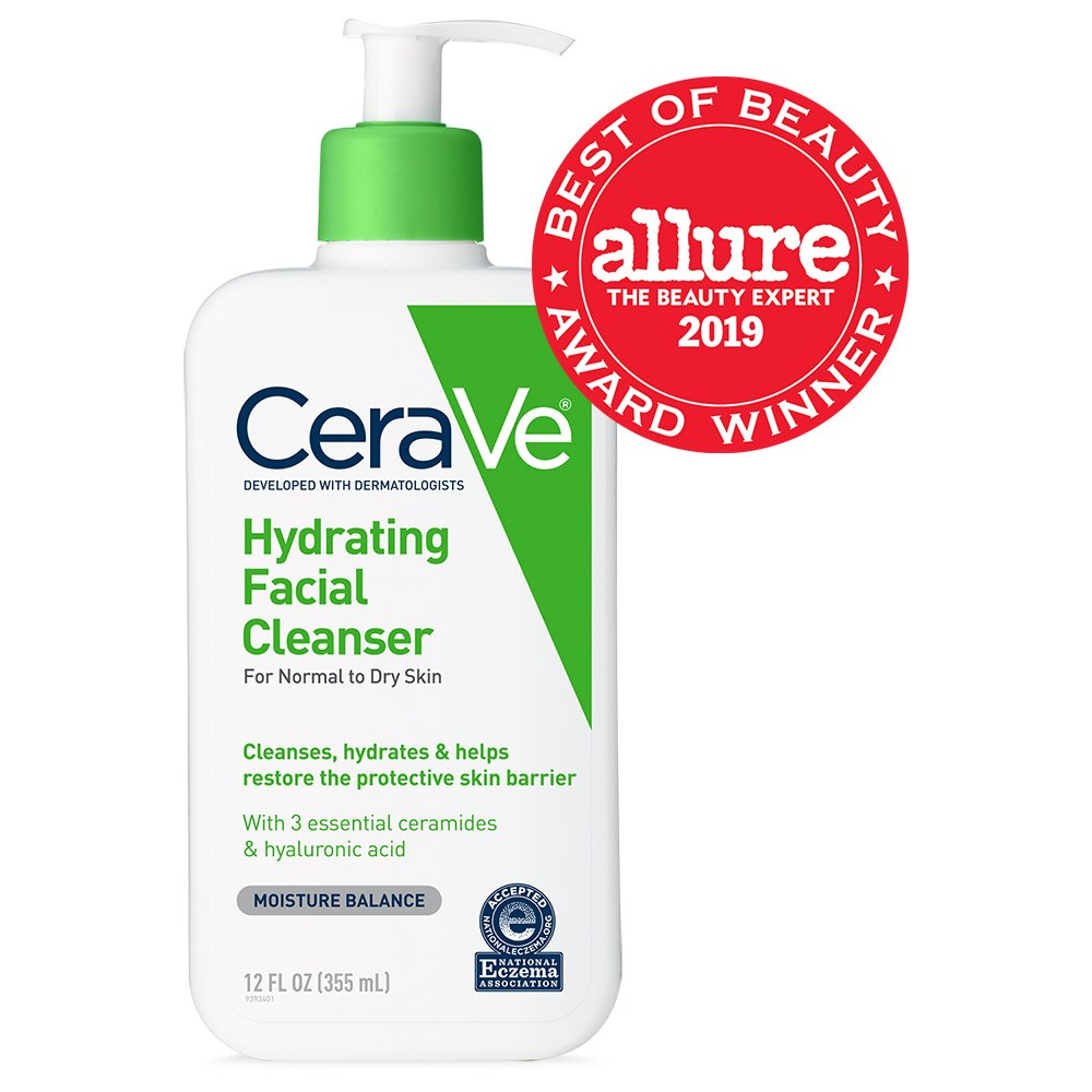 CeraVe Hydrating Facial Cleanser, Daily Face Wash for Normal to Dry Skin 12 Oz