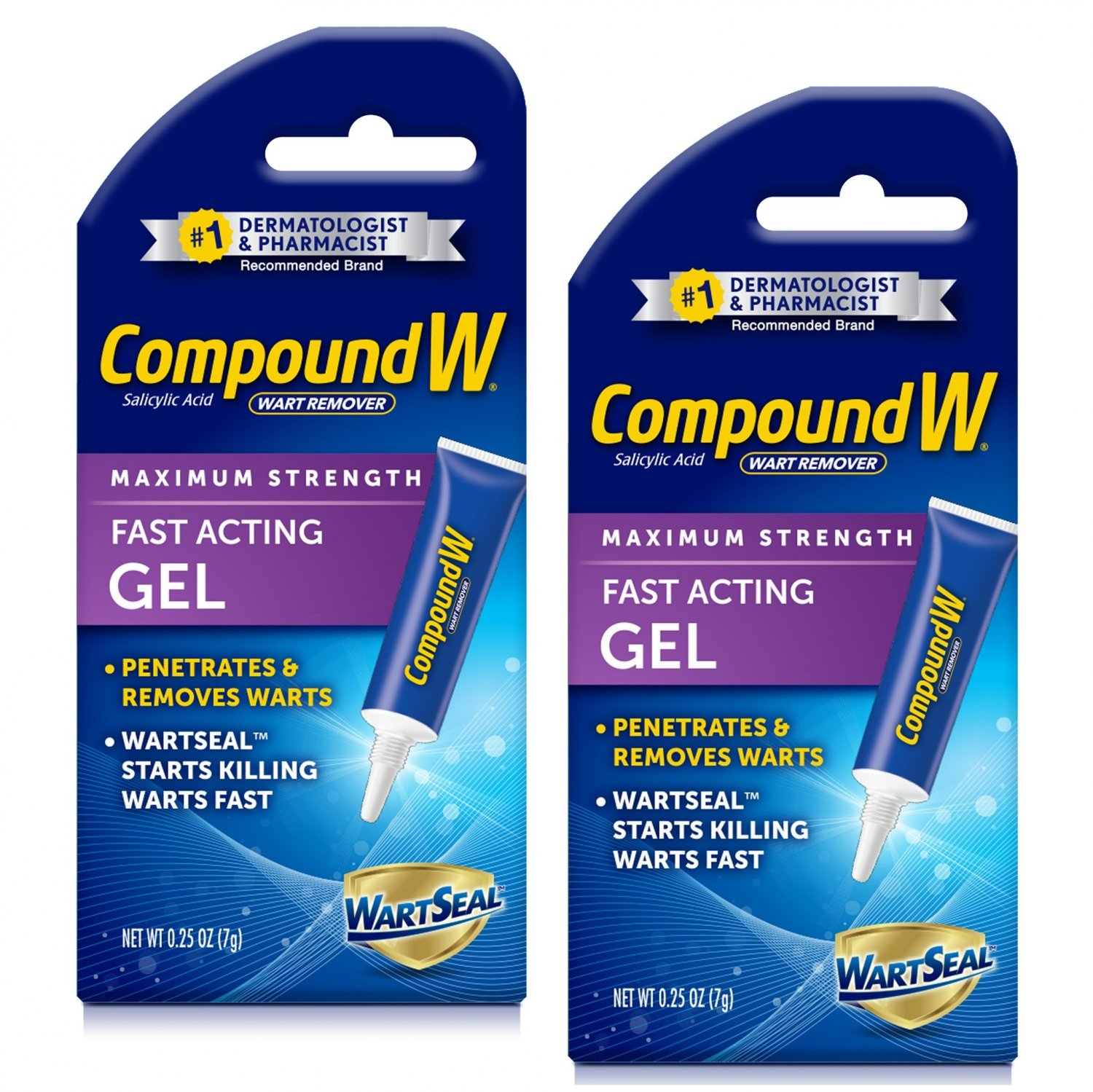 Compound W Maximum Strength Fast Acting Gel Wart Remover 0.25 oz (Pack of 2)