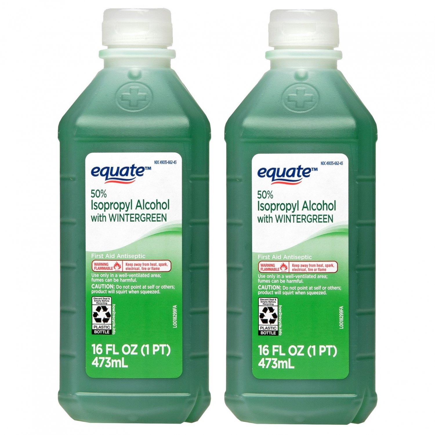 Equate 50% Isopropyl Alcohol with Wintergreen 16 Oz Bottle (Pack of 2)