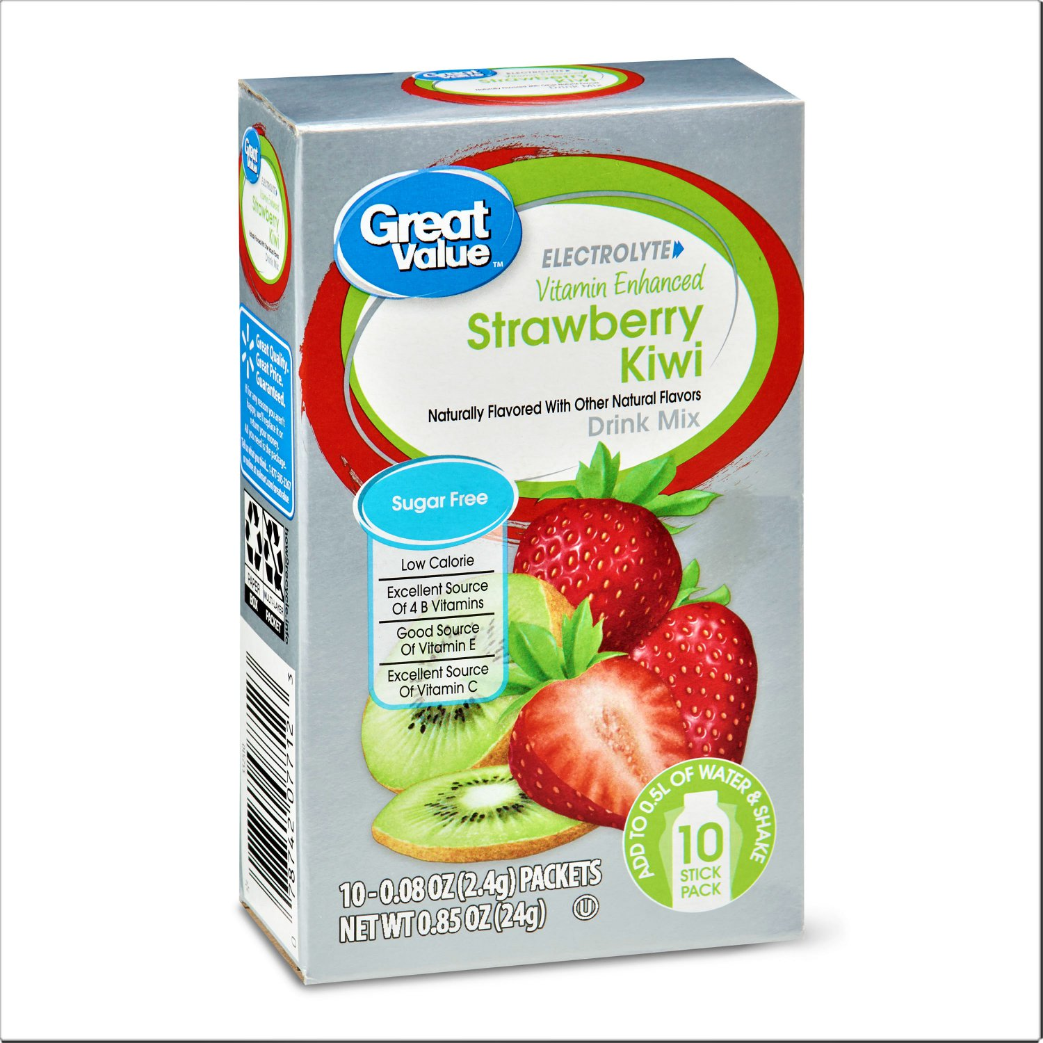 8 Boxes Great Value Electrolyte Vitamin Enhanced Strawberry Kiwi Drink Mix (10 Count Box)