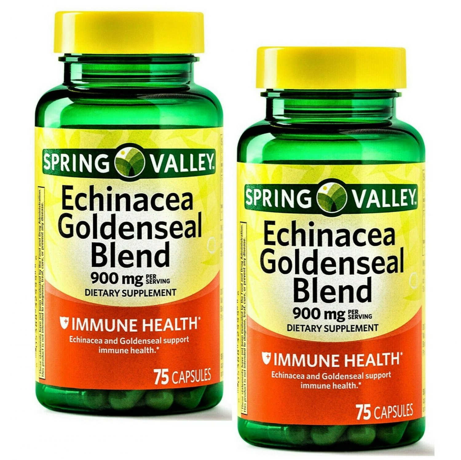 Spring Valley Echinacea & Goldenseal Extract Blend 900 mg 75 Capsules (Pack of 2)