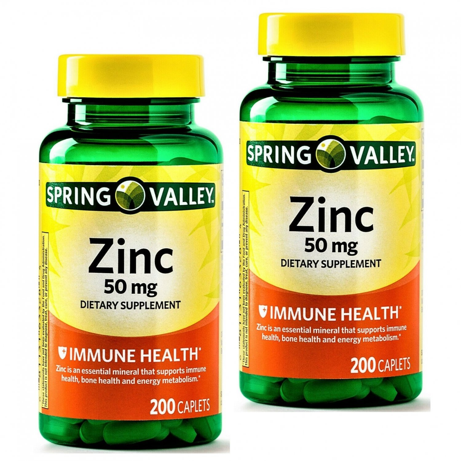 Spring Valley Zinc 50 mg Immune Health Dietary Supplement 200 Caplets Pack (Pack of 2)