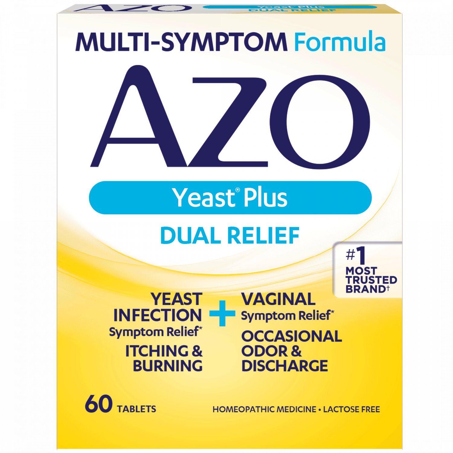AZO Yeast Plus Dual Relief Yeast Infection + Vaginal Symptom Relief 60 Count