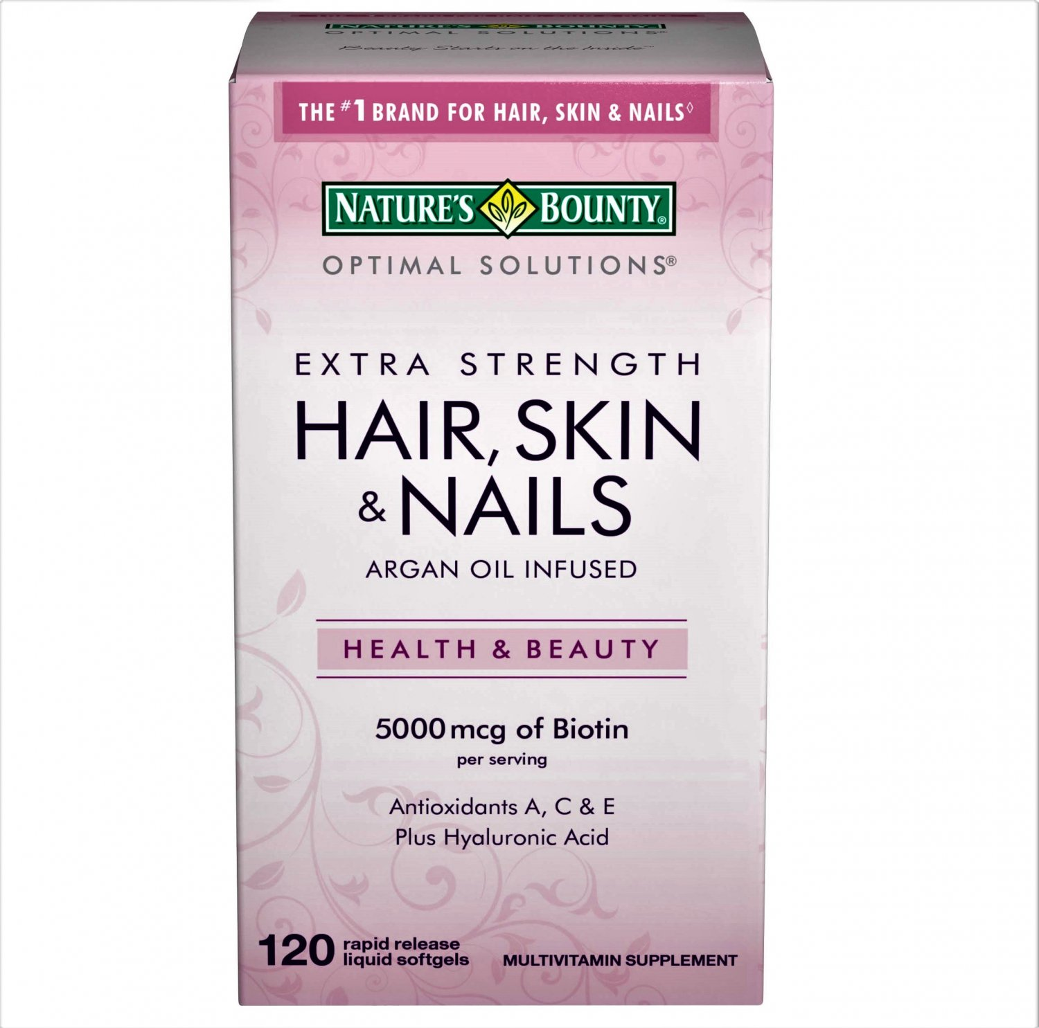 Nature's Bounty Biotin, Hair Skin and Nail Vitamins Softgels 120 Count