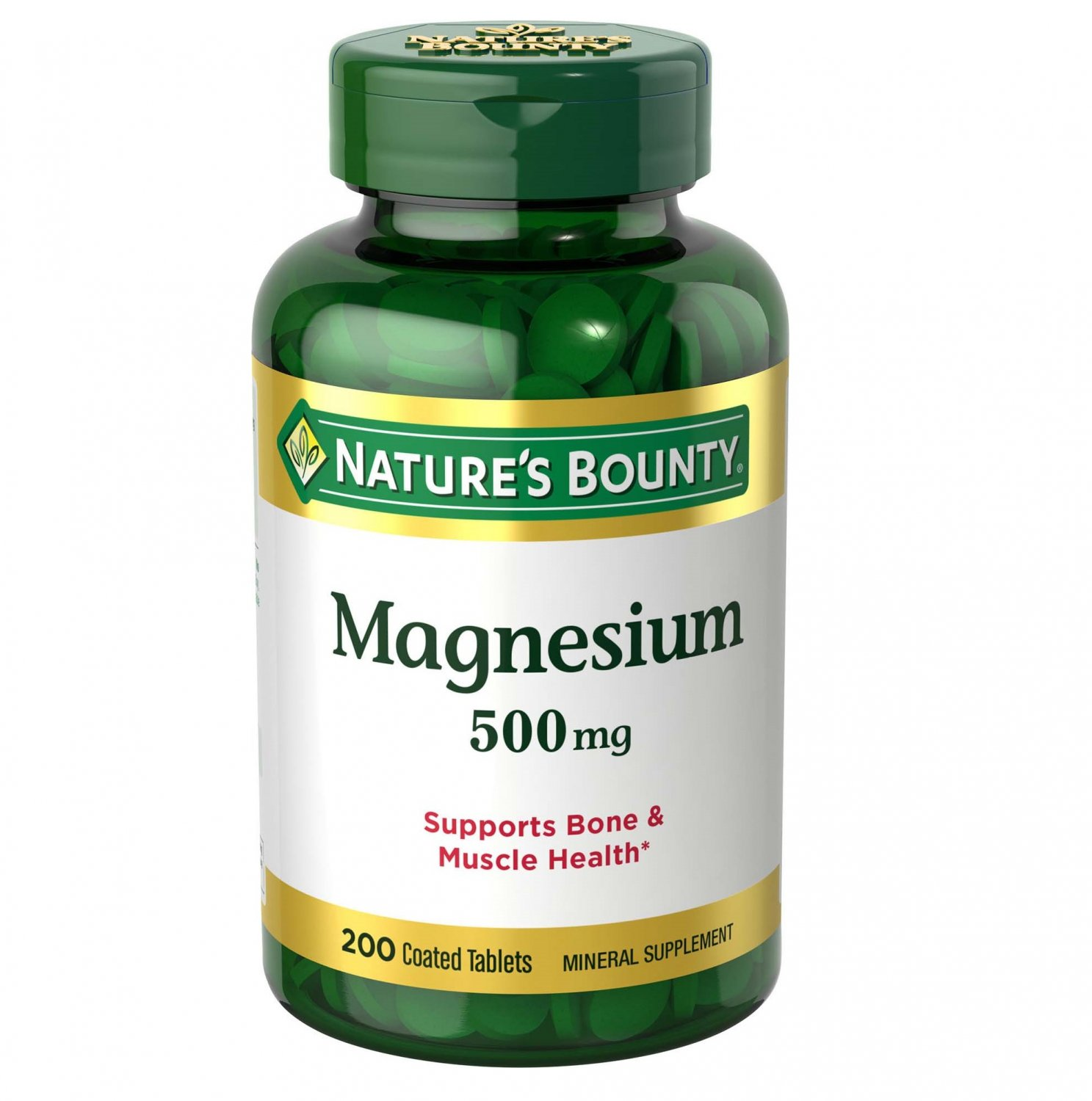 Nature's Bounty Magnesium Coated Tablets, 500 Mg, 200 Count
