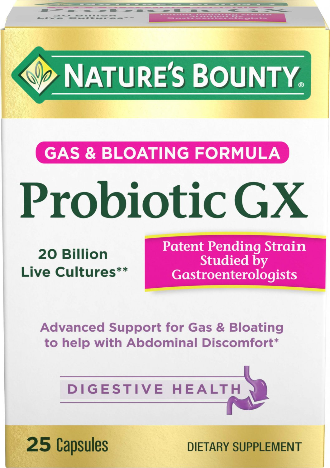 Nature's Bounty Probiotic GX, Gas and Bloating Capsules, 25 Count