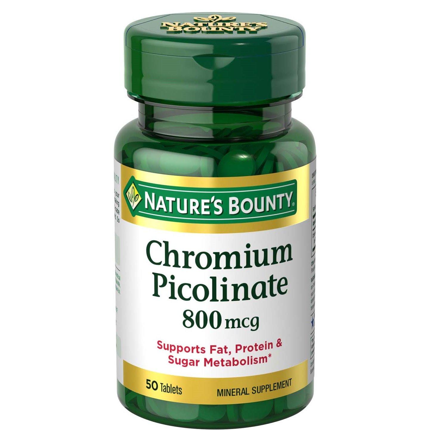 Nature's Bounty Chromium Picolinate Tablets, 800 mcg, 50 Count
