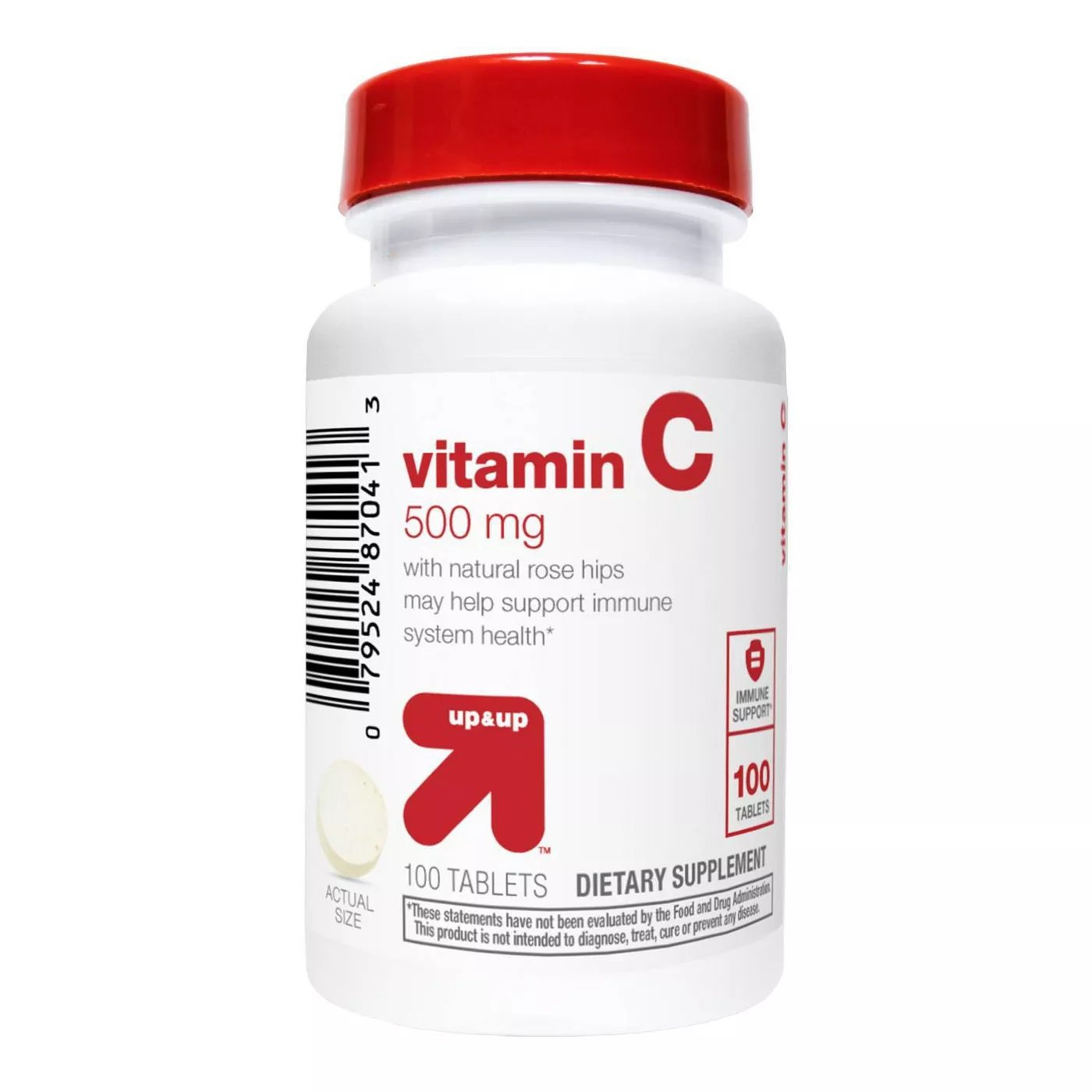 Vitamin C 500 mg with Rose Hips Tablets - 100 Count - up & up