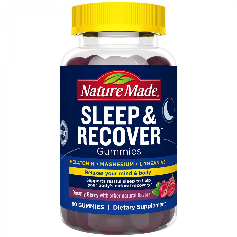 Nature Made Sleep & Recover Melatonin, L-theanine, Magnesium 60 Gummies