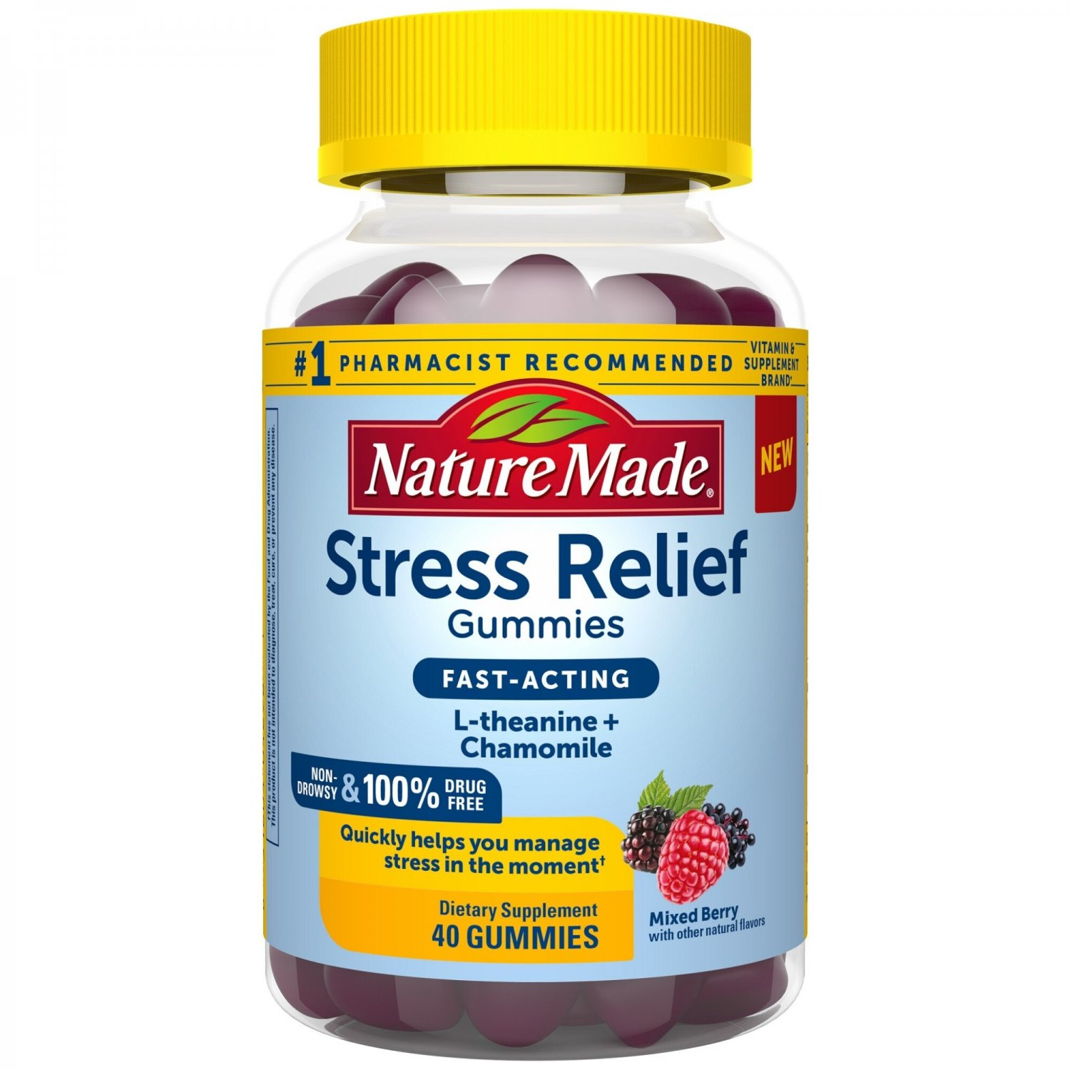 Nature Made Stress Relief L-theanine + Chamomile Fast Acting Gummies - 40 Count