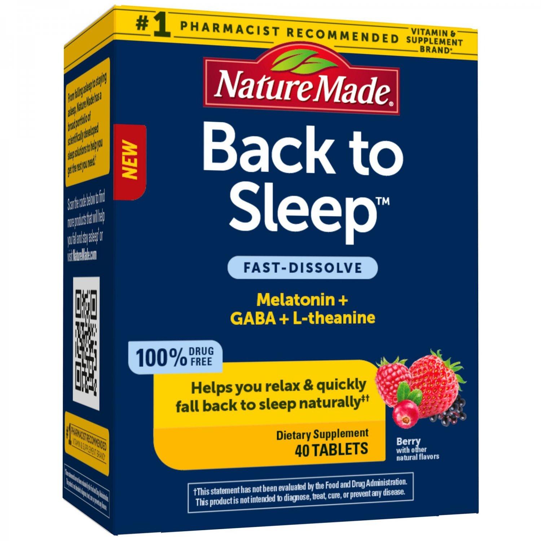 Nature Made Back to Sleep Melatonin, Gaba, L-Theanine, Fast Dissolve 40 Count