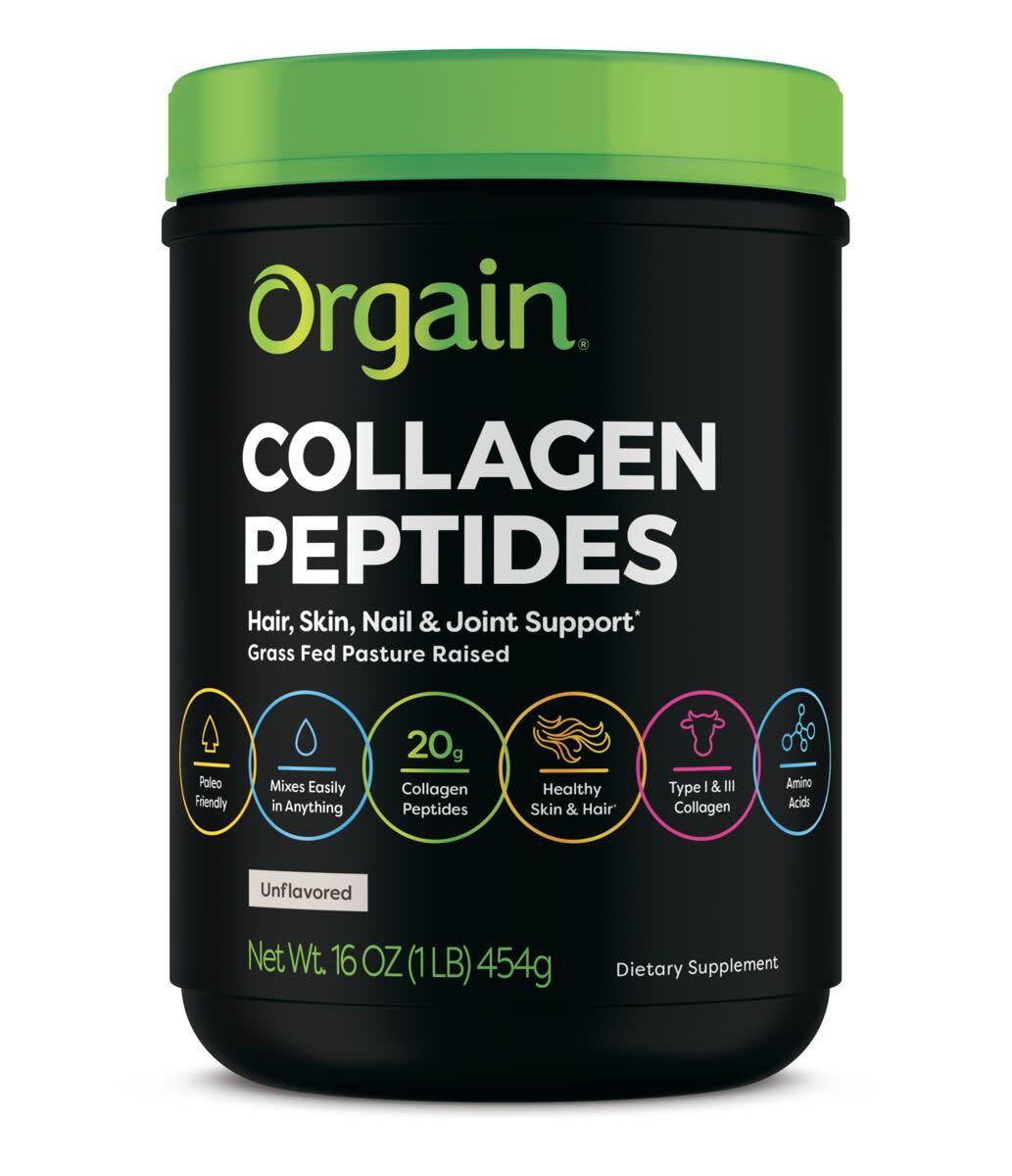 Orgain Grass-Fed Pasture Raised Collagen Peptides Powder, Unflavored, 16 Oz