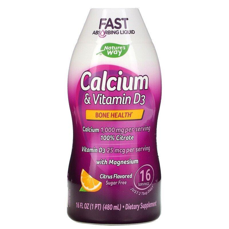 Natures Way Calcium & Vitamin D3 Liquid Dietary Supplement, Citrus, 16 Oz