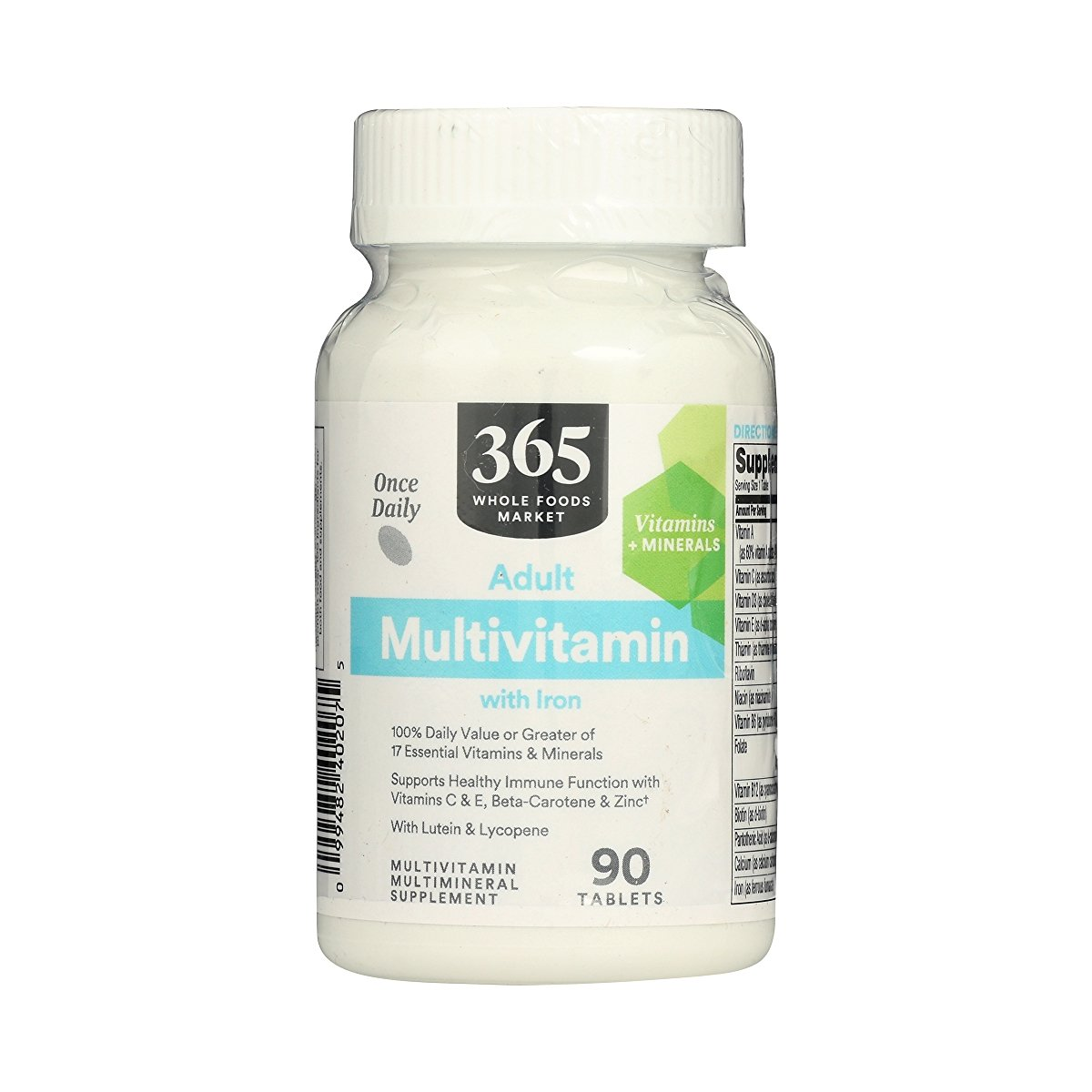 365 Whole Foods Supplements Adult Multivitamins with Iron, 90 tablets