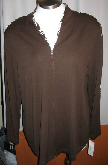 Vikki Vi Brown Zip Front Jacket Size 1X