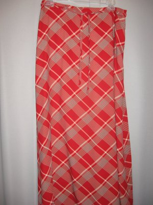 Liz Claiborne Red Plaid Long Skirt Size 12