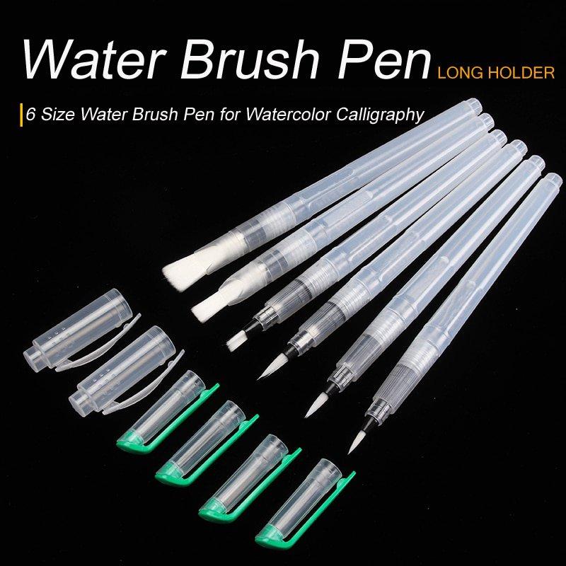 Bianyo 6PCS Portable Paint Brush Water Color Brush Pencil Soft Watercolor Brush Pen for Beginner Pai