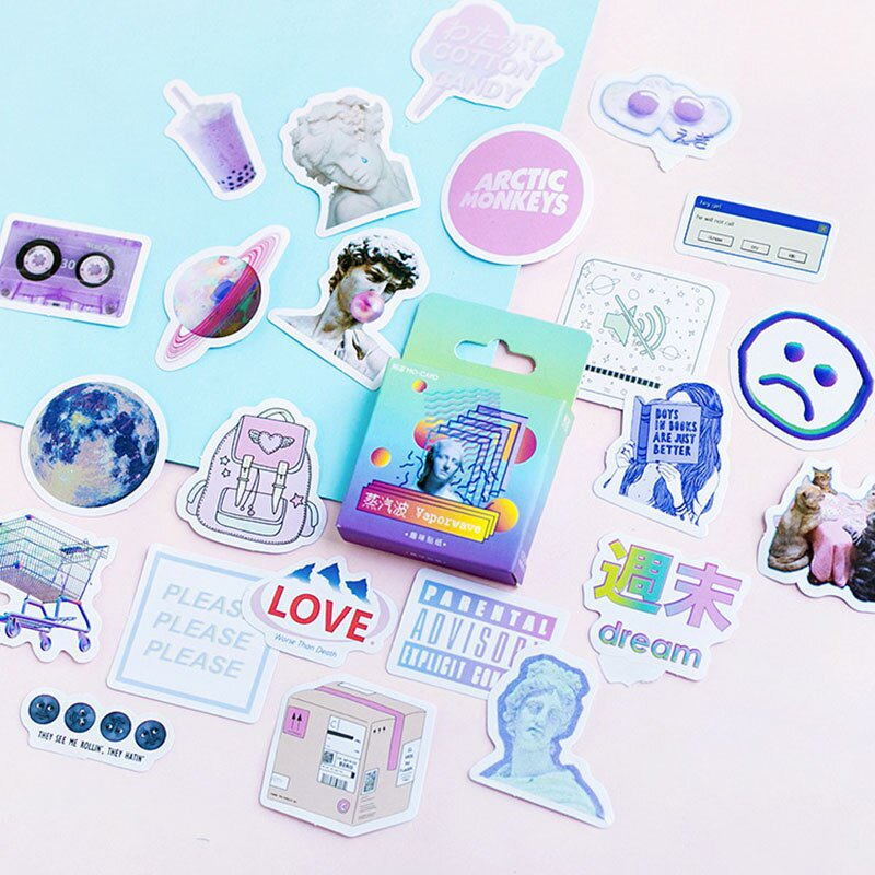 45pcs/box Stationery Stickers Vaporwave DIY Planet Sticky Paper Kawaii Moon Plants Stickers For Deco