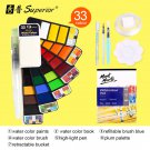 Superior 18/25/33/42 Solid Watercolor Paint Set With Water Brush Pen Foldable Travel Water Color Pig