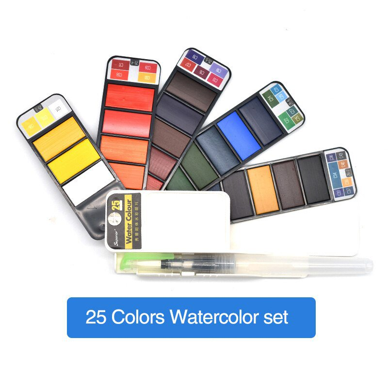 Superior 18/25/33/42Colors Solid Watercolor Paint Set With Water Brush Pen Watercolor Pigment For Dr