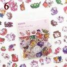 100pcs/bag Kawaii Cat Stickers Green Plant Dessert Decoration Adhesive Stickers Scrapbooking Diary D