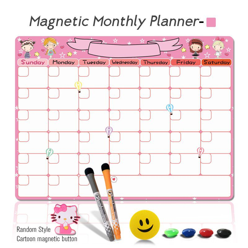 A3 Magnetic Weekly & Monthly Planner Whiteboard Fridge Magnet Flexible Daily Message Drawing Ref