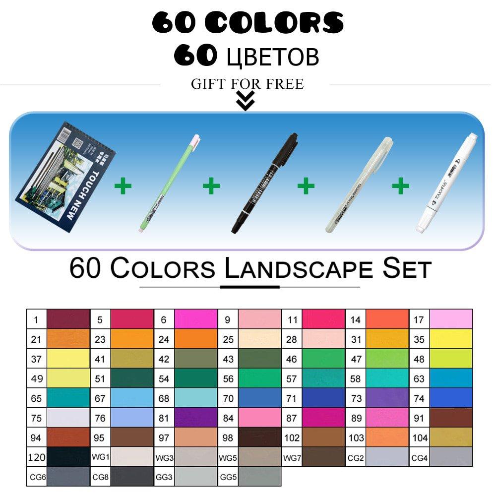 TouchFIVE markers pen Set 30 40 60 80 168Colors Animation Sketch Drawing Art Alcohol Anime brush pen