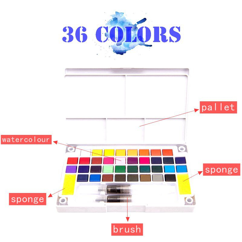 High Quality Solid Pigment Watercolor Paints Set With Water Color Portable Brush Pen For Professiona