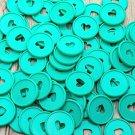 30PCS 35mm Colorful Heart Binder Rings Mushroom Hole Loose Leaf Ring Round Binding Plastic Disc Buck