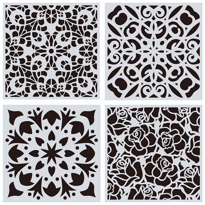 Mandala wall Drawing Stencil 15x15cm 4pcs/lot for painting DIY hosehold decoration Template Photo fr