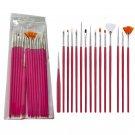 15pcs Long Tail Brush Pen Plastic Handle Pull Hook Line Pen Nail Artists Set Short Miniature Detail