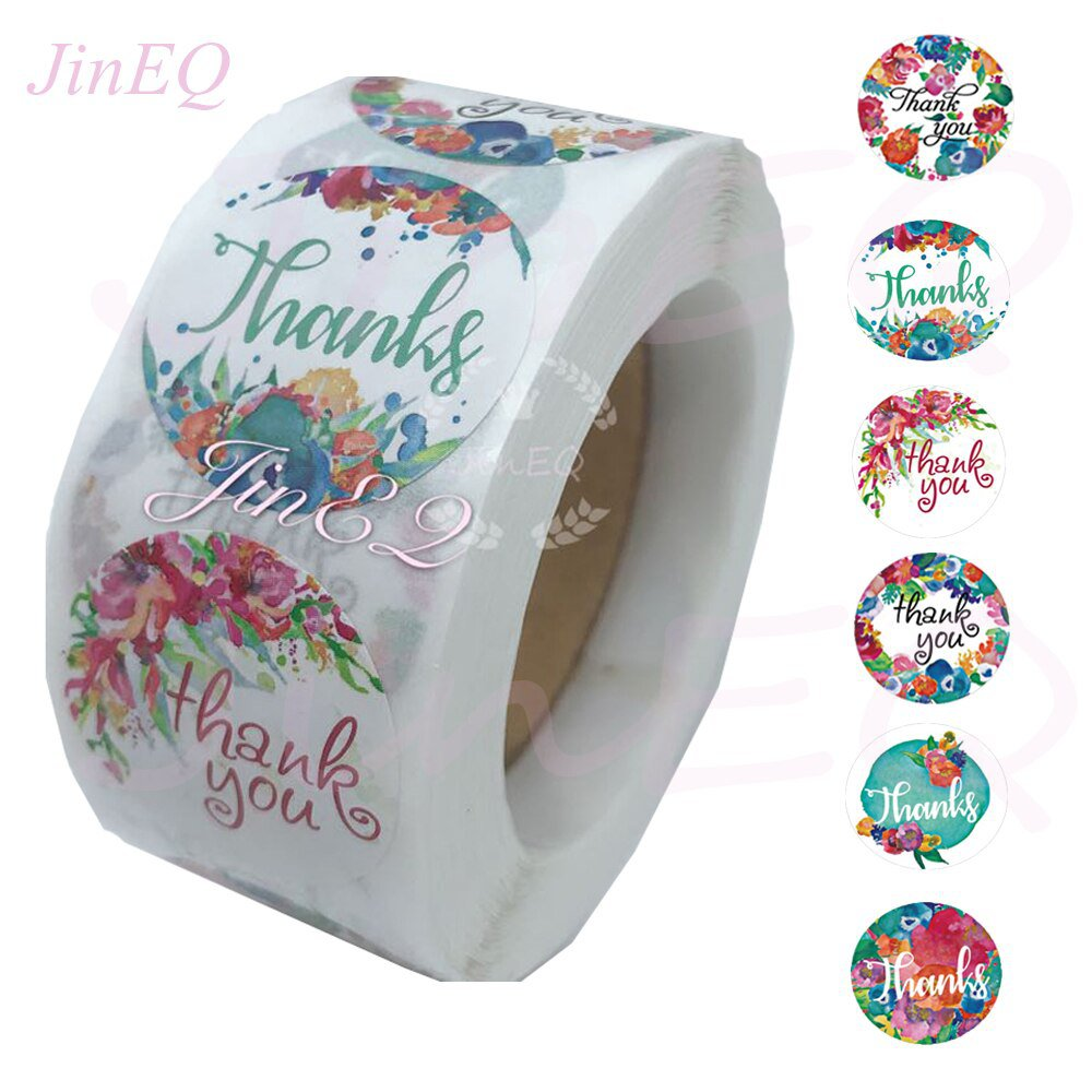 500pcs Round Floral Thank You Stickers 1inch  for Wedding Favors and Party Handmade Stickers Envelop
