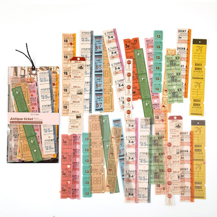 Mr.paper 30Pcs/pack 8 Designs Old Time Scenery Antique Ticket Artistic Stickers Bullet Journal Deco