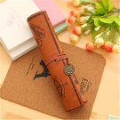 1PCS PU Leather Creative Retro Luxury Treasure Map Pencil Cases Roll Pen Bag Pouch For Stationery Su
