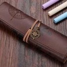 Vintage Retro Treasure Map Pencil Cases Luxury Roll Leather PU Pen Bag Pouch For Stationery School S