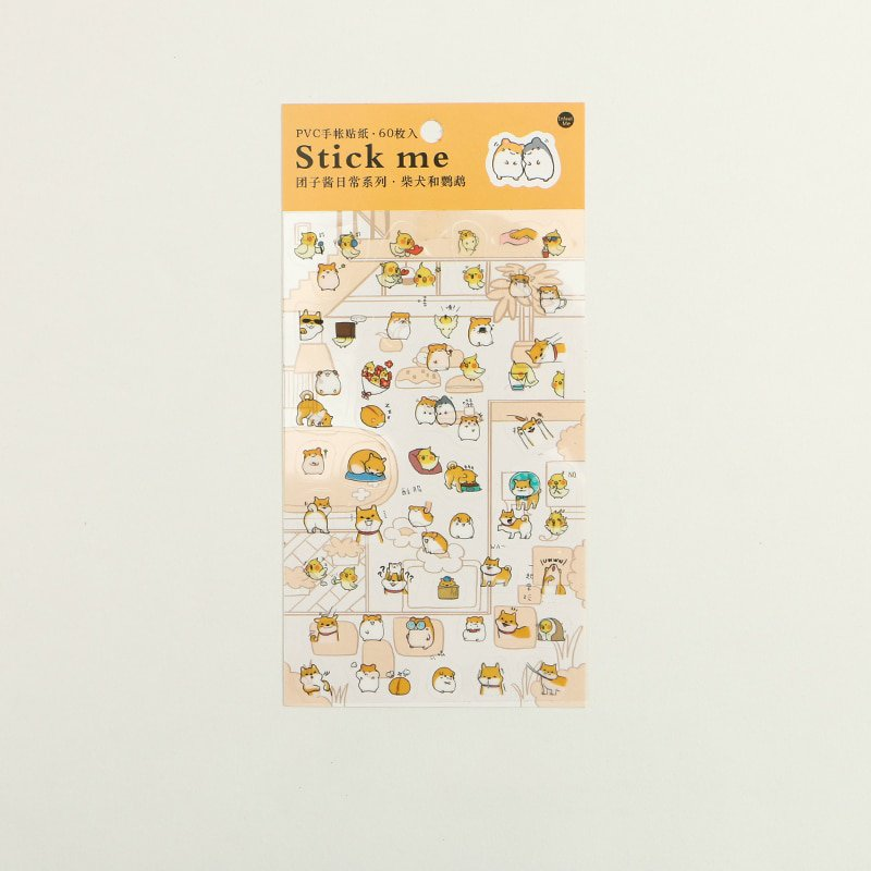 Mr.paper Transparent PVC Sticker Kawaii Cartoon Animal Shiba Inu Panda Rabbit Duck Penguin Scrapbook